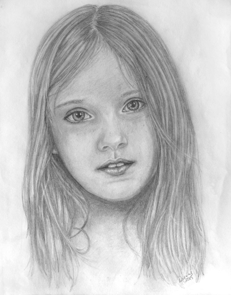 Portrait of a child in graphite pencil