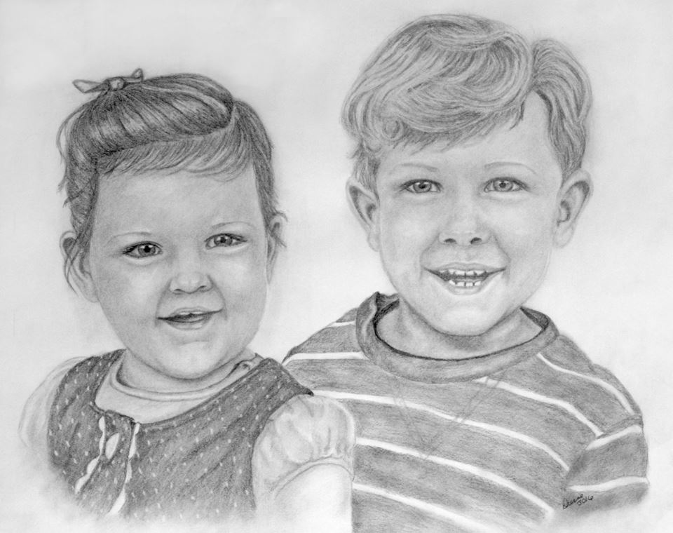 portrait of children in graphite pencil